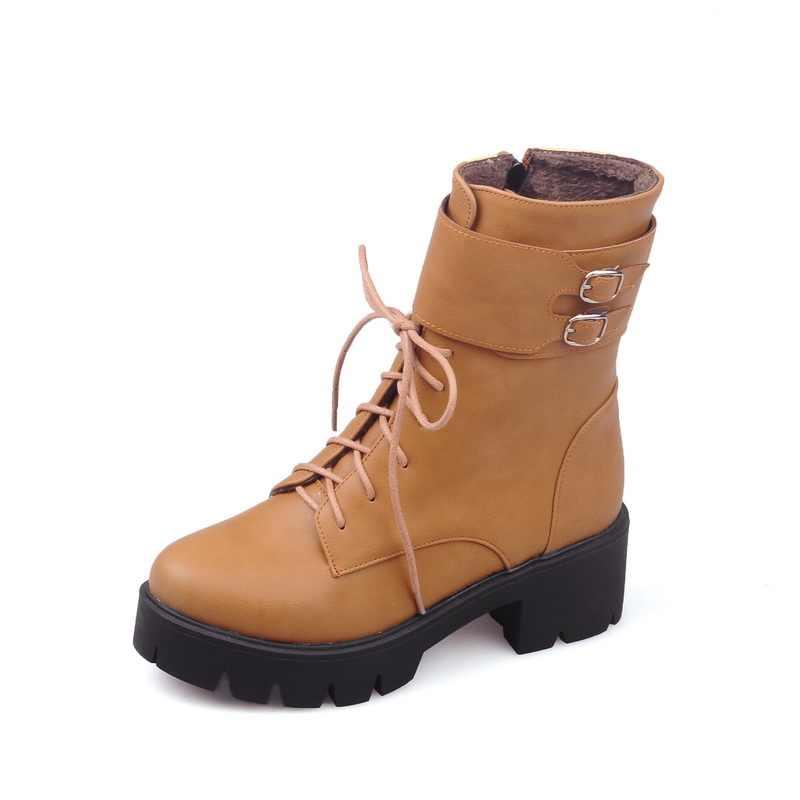 NemaoNe Thời Trang khởi động phụ nữ 2018 Mùa Thu mùa đông phụ nữ khóa giày cao gót vòng nền tảng chân ren lên mắt cá chân khởi động cho phụ nữ