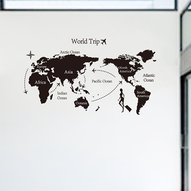 World Map Wall Sticker Office Living Room Decoration Travel Around The World Diy Removable Wallpaper Home