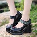 Zapatos de cuero genuinos zapatos de las cuñas de zapatos de plataforma de tacón alto bombas de color negro para la mujer sy-2010
