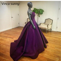 2019 New Arrival Long Purple Evening Strapless Floor Length Elegant Women Formal Gowns Count Train Evening Gowns