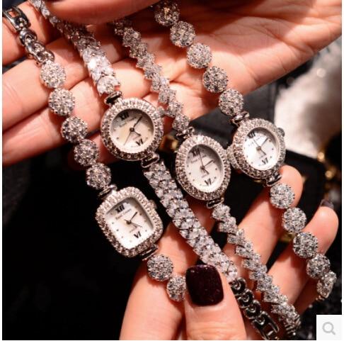 2016 Arrival Famous Brand Cubic Zirconia Watch Women Luxury Czech Stones Watch Lady Zircon Rhinestone Watch Bangle Bracelet