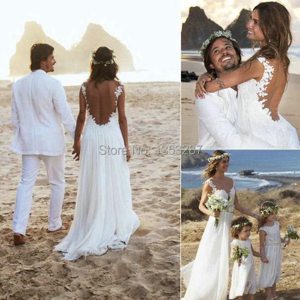 Vestido largo para boda en la playa