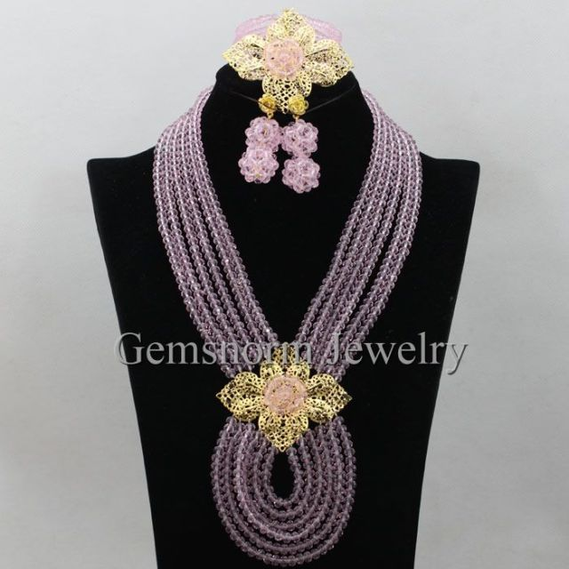 Pretty Baby Pink African Beads Jewelry Set Crystal Necklace Earrings Fashion Jewellery Set Birthday Gift Set Free Shipping WA228