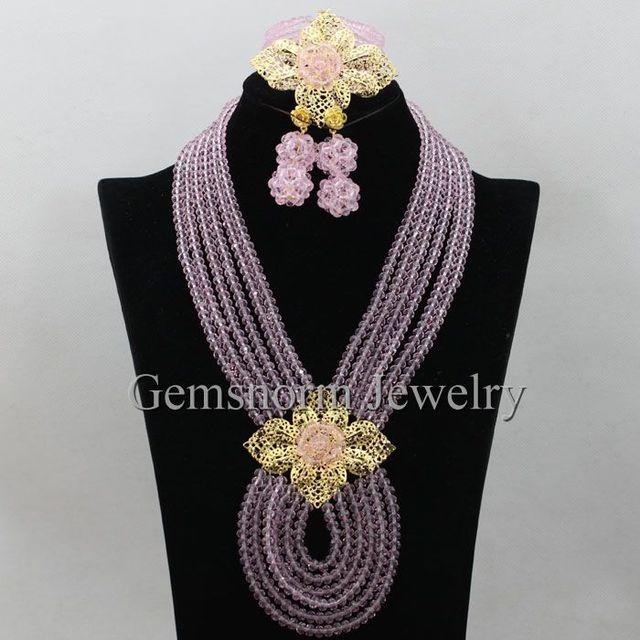 Pretty Baby Pink Beads Africanos Set Jóias Colar de Cristal Brincos Conjunto de Jóias de Moda Presente de Aniversário Definir Frete Grátis WA228