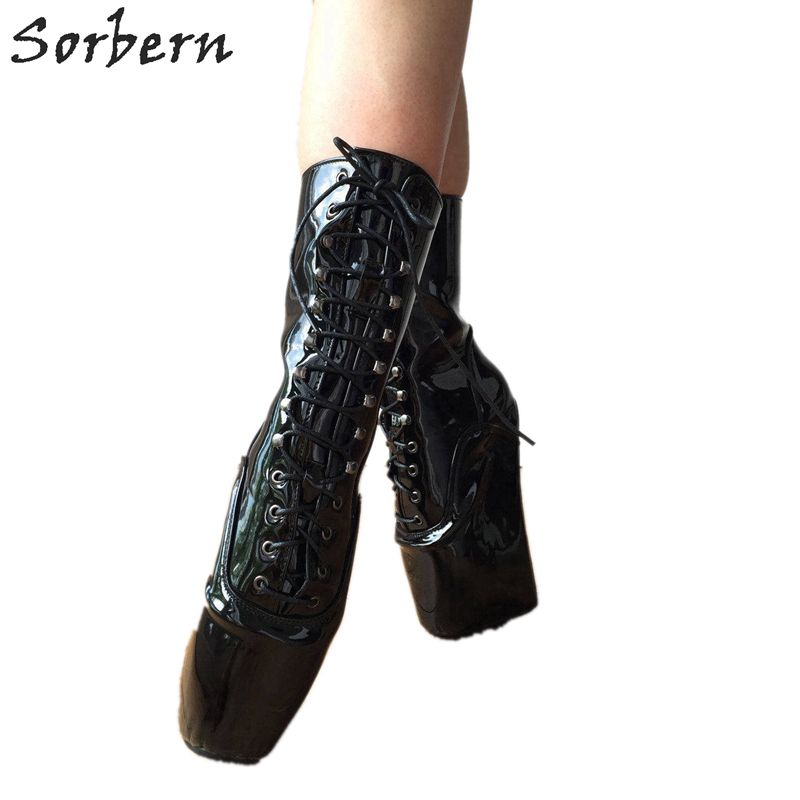 Sorbern Black Shiny Ankle Boots For Women Exotic Dancer Boots Extreme Heels Lady Gaga Fetish Ballet High Heels Sexy Shoes Boots sorbern royal blue metallic ankle boots for women ballet high heels padlocks exotic dance party shoes sexy fetish high heel shoe