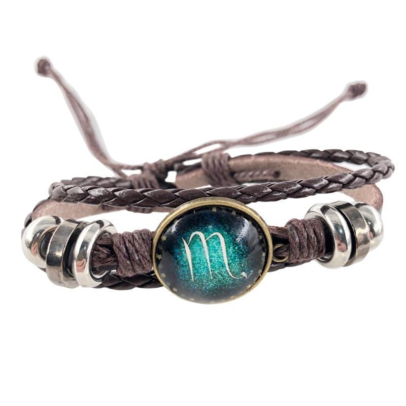 Fashion 12 Constellation Unisex Charm Bracelets Leather Bracelet for Men Boys Women Girl Jewelry Accessories Gifts