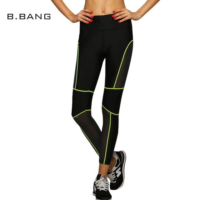 B.BANG 2017 Women Elastic Casual Leggings Capris Aerobics Slim Legging Mesh Lines Dry Quick Pants With Honeycomb Holes Workout