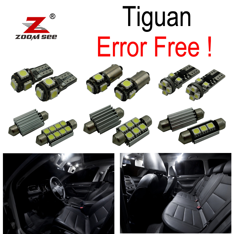 13pc X canbus Error Free for VW Volkswagen Tiguan LED interior dome map reading trunk light bulb Kit Package (2009-2015) for volkswagen passat b6 b7 b8 led interior boot trunk luggage compartment light bulb