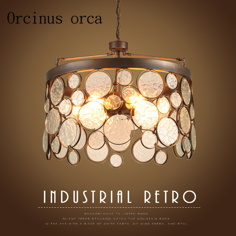 nostalgia Nordic Industrial wind glass chandeliers American style chandeliers creative restaurants coffee shops <font><b>lights</b></font> image