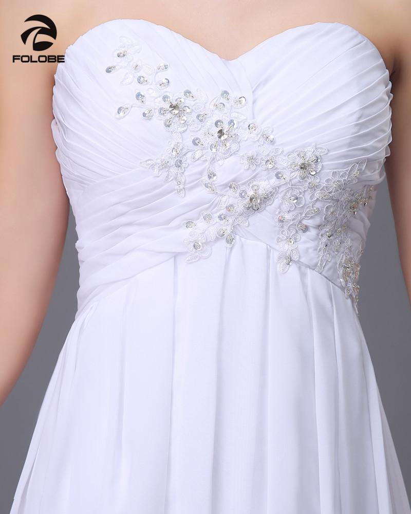 Vestido De Novia 2017 Custom Made White/Ivory Chiffon Applique Beading Lace Beach Wedding Dress Bridal Gowns 3