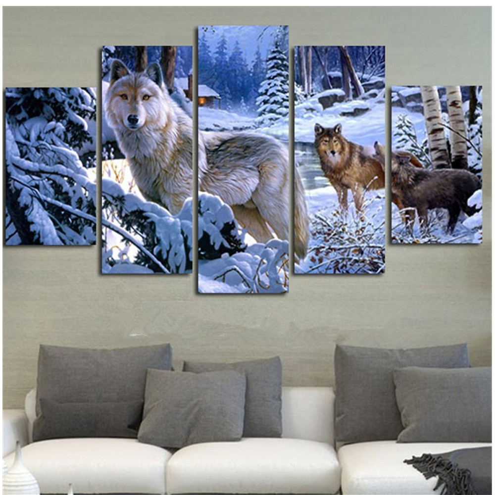 Diy diamond painting diamond embroidery Snow Wolf decorative pictures of rhinestones crafts home decoration 5pcs/set BK-3021Diy diamond painting diamond embroidery Snow Wolf decorative pictures of rhinestones crafts home decoration 5pcs/set BK-3021