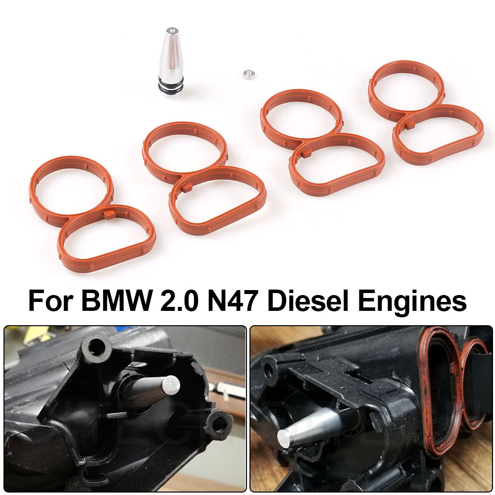 Swirl Flap Flaps Plug Blank Removal Replacement with Gaskets Kit for BMW N47 2.0