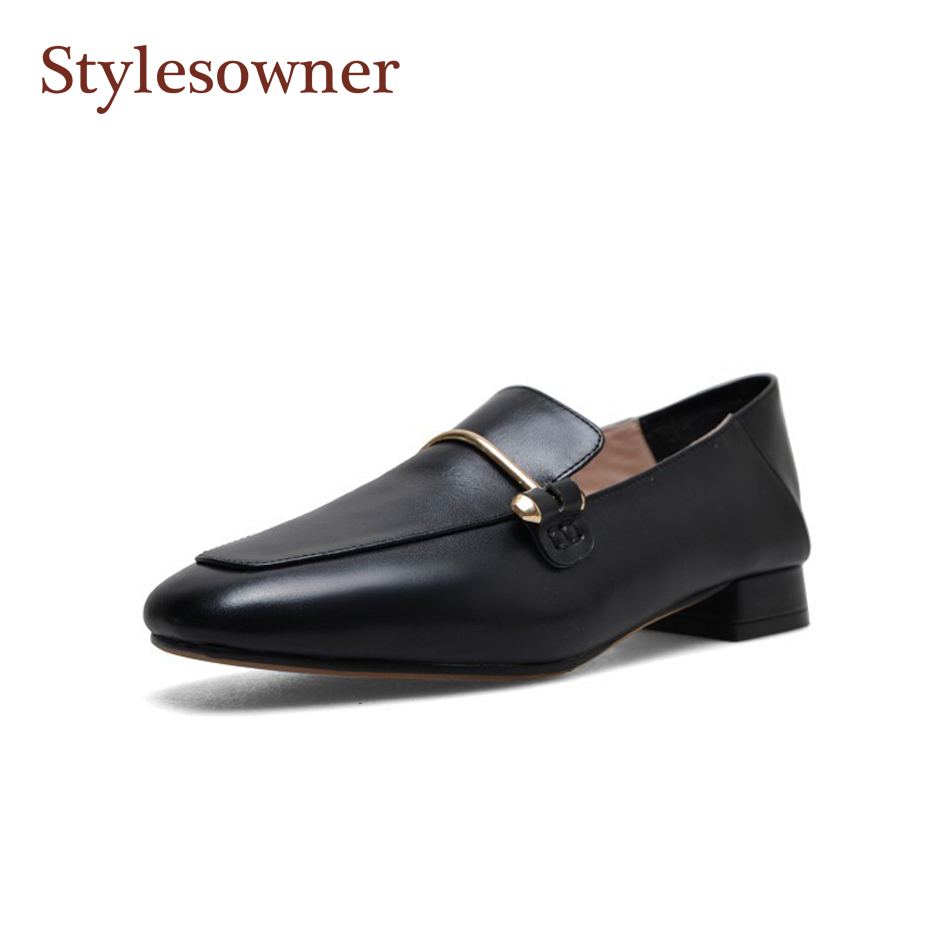 Stylesowner 2018 soft leather women casual shoes flat squared toe loafers metal buckle autumn zapatos mujer high quality shoe Stylesowner 2018 soft leather women casual shoes flat squared toe loafers metal buckle autumn zapatos mujer high quality shoe