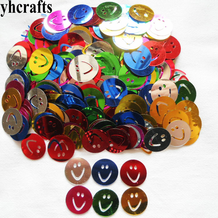 20gram/Lot 16mm Smile Face Sequin Craft Material Kindergarten Arts And Crafts Intelligence Creative Activity Item Cloth Ornament
