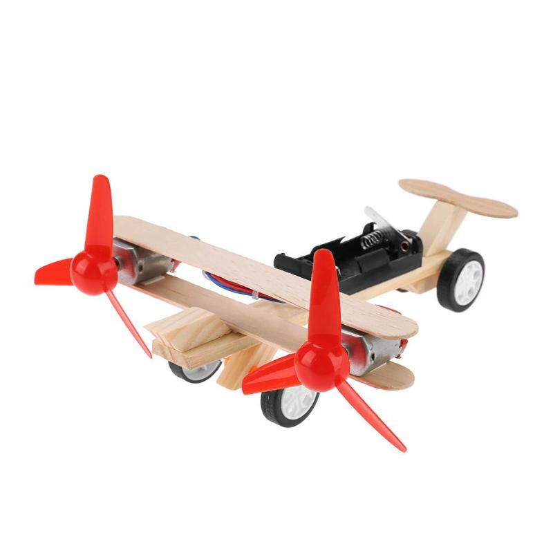 Twin Blades Electric Skating Aircraft Kit Toy Airplane Science DIY Model