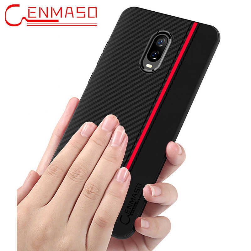 Oneplus 6T 6 T case cover Oneplus 5 5T 6 6T 7 Pro carbon fiber leather back case soft silicon edge capa One plus 6T full case