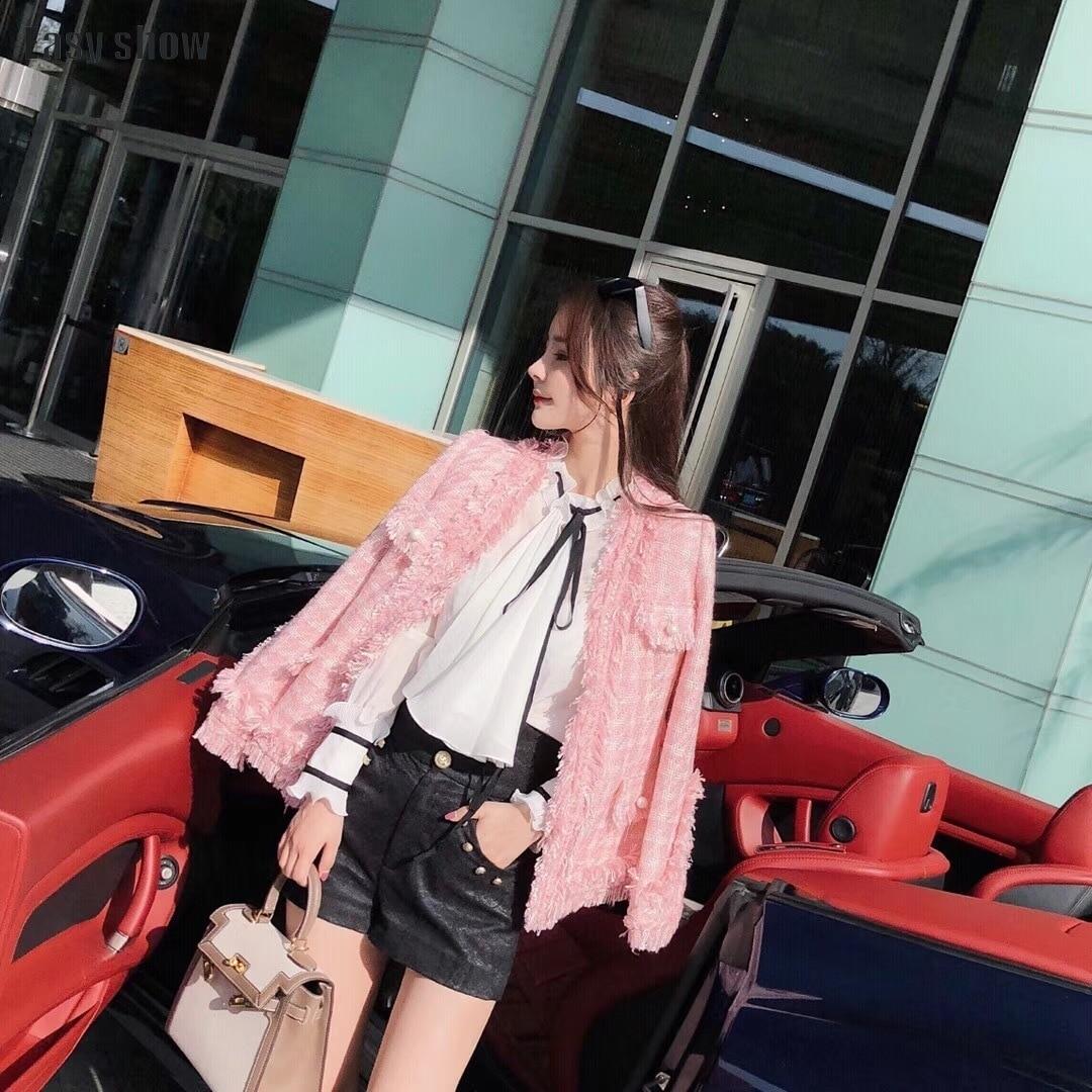 Avec Er Rose shorts Tweed Costume Shorts Bord Designer Manteau Jacket Fonds  Marque Lâche Glands Étoiles ... ecc0df796e61