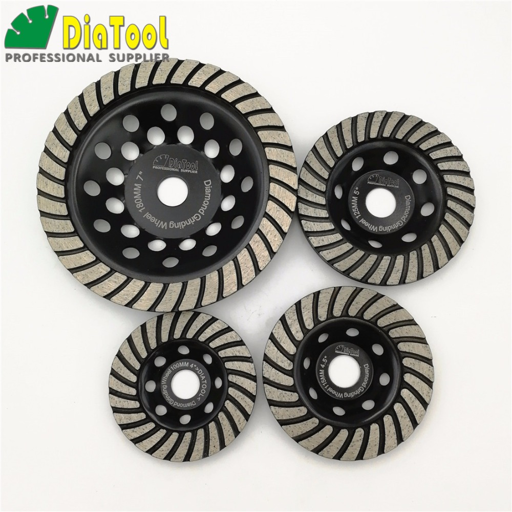 DIATOOL 1pc Diamond Turbo Row Grinding Cup Wheel Grinding Disc Diameter 4/100mm 4.5/115mm 5/125mm 7/180mm diamond wheel [m14 thread] 5 ncctec diamond aluminum matrix sintered grinding disc 125mm stone turbo grinding cup wheel free shipping
