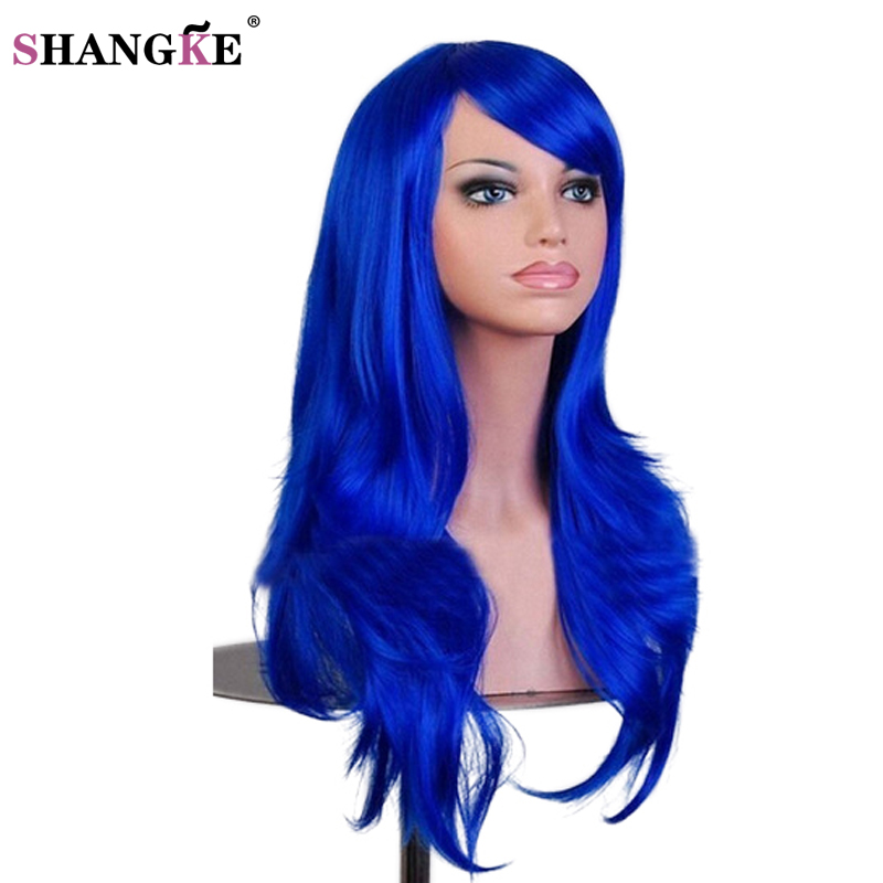 Halloween Hair Wig Long Wavy Synthetic Wigs for Women Red Wig Heat Resistant Female Hair Cosplay Wig SHANGKE in Synthetic None Lace Wigs from Hair Extensions Wigs