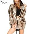 2016 Nuevo de las mujeres Con Capucha básica abrigos de Moda Chaqueta de bombardero de la cremallera de Metal de Oro 2016 de la calle Roca Punky Flojo outwear jaqueta feminina