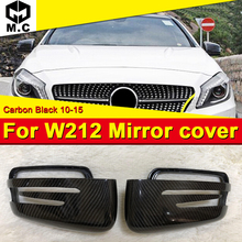 For Mercedes W212 E63AMG look side mirror cover Carbon fiber black 2pcs 1:1 Replacement E class Wing Door Mirror Cover 2010-2015