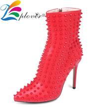 Fashion Women Shoes Rivet Thin Heels Boots Red Super High Botas Mujer With Fur Winter 12cm Bota Feminina