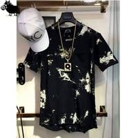2016 Balm Hip Hop StreetWear T Shirt Tie Dye Tops Tee Extended Side Zipper T Shirt