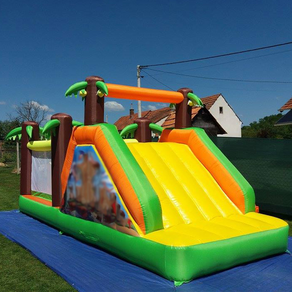 Jungle Children Inflatable Bouncers Inflatable Jumping Castle Bouncy Castle Bounce House with Slide and Column Game tropical inflatable bounce house pvc tarpaulin material bouncy castle with slide and ball pool inflatbale bouncy castle