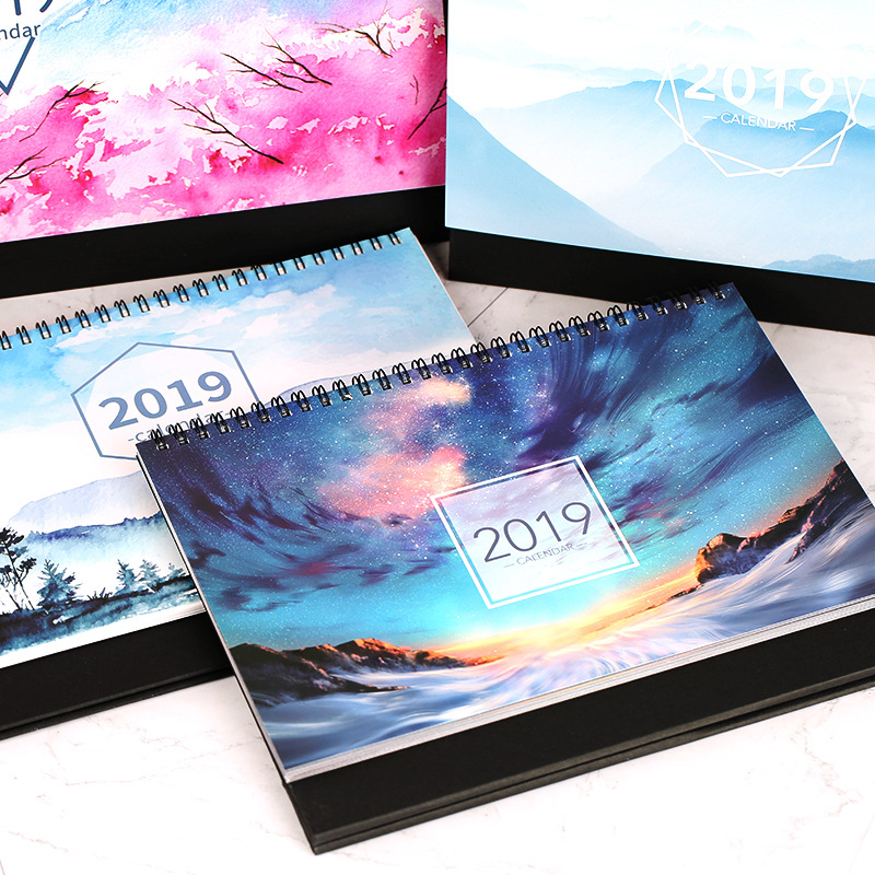 2019 Watercolor Scenery Starry Sky Series Table Desk Calendar Agenda Organizer Daily Schedule Planner 2018.08~2019.12 2019 bronzing creative desk vertical calendar agenda organizer daily schedule planner 2018 10 2019 12