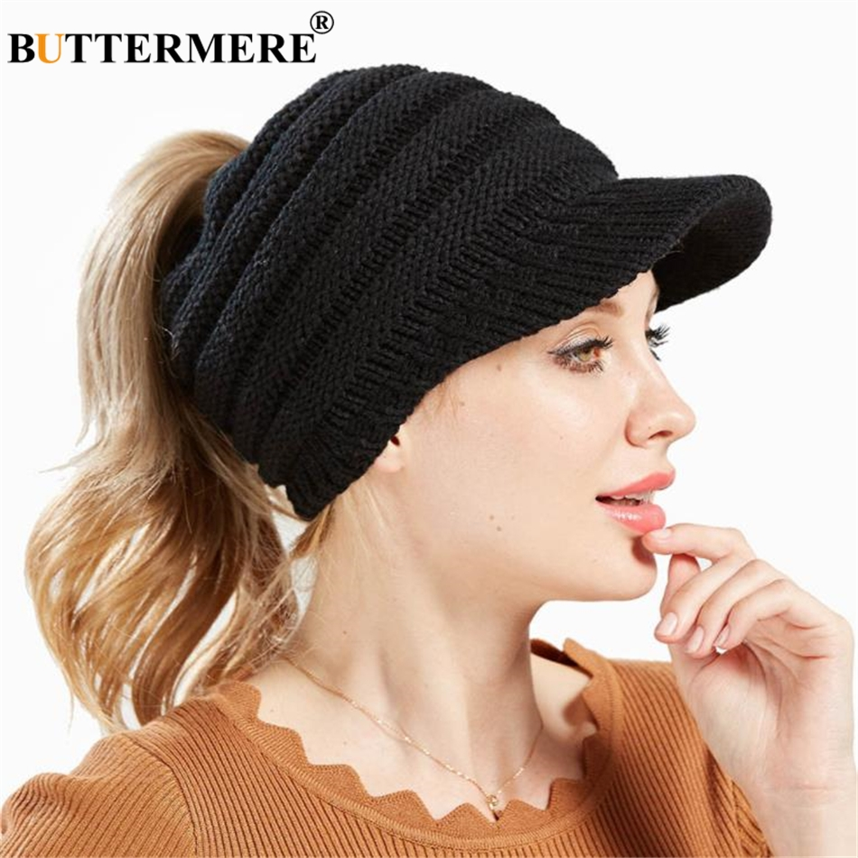 BUTTERMERE Black Messy Bun   Beanie   Women Ponytail   Beanies   Autumn Winter Hats Female Soft Knitting Caps Warm Solid Ladies   Skullies