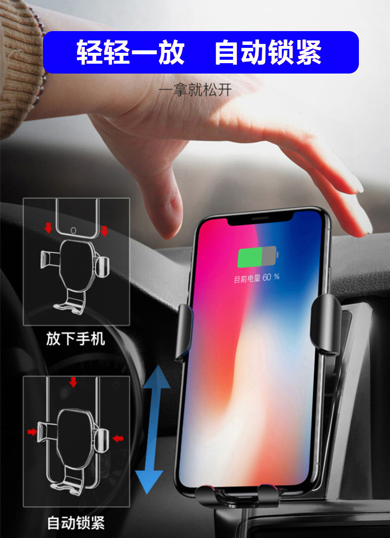With GPS Car Wireless Charger For iPhone Xs Max XR Car Mount Mobile Phone Wirless Charging Car Phone Holder For Samsung S10 S9 in Car Chargers from Cellphones Telecommunications