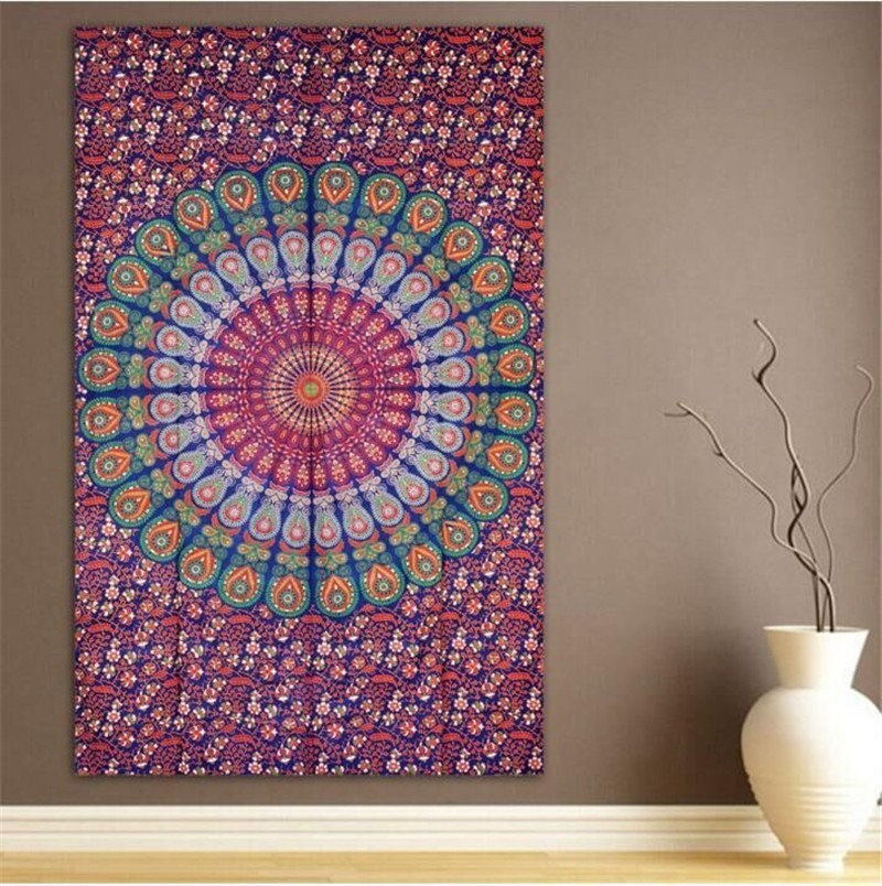 Image 4 - 148X200CM Hippie Mandala Tapestry Wall Hanging Indian Bohemian Psychedelic Tapestry Wall Fabric Boho Decor Wall Carpet Mattress-in Tapestry from Home & Garden