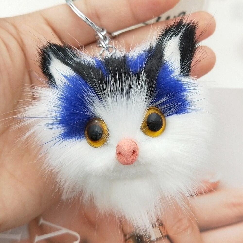 Charm Women Fluffy Keychains Cute Kitten Cat Key Chain For Girls Pompom Fur Car Key Ring Purse Pendant Pom Pom Keyrings Jewelry цена