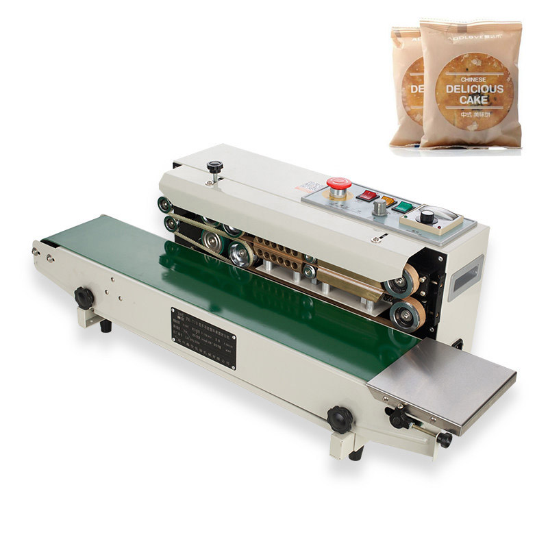 YTK FR900 Plastic Film Food Sealing Machine+Vertical Sealing+date printing+seal belt 220V|belt belt|machine machine|sealing film - title=