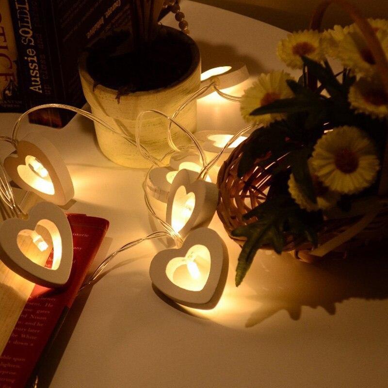 10 LED String Lights Wooden Heart Shape Lamp For Festival Party Wedding Home Decoration LB88