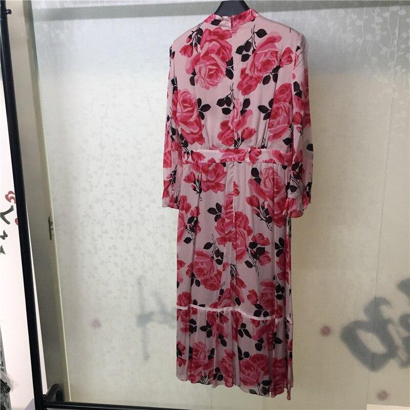 Longue Longues 2018 D'été cou Imprimé Femmes À Floral Robe O Lady Mode Manches De rvaqPwrC