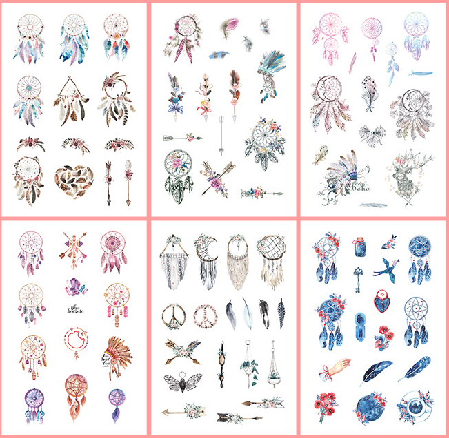 6 Pcs/pack Dreamcatcher Feather Bullet Journal Decorative Stickers Scrapbooking Stick Label Diary Stationery Album Stickers