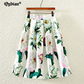 Fresh Style big flower Print Pleat Skirts Women 2017 High Waist knee-Length Umbrella Circle Skater Skirt Female Saia