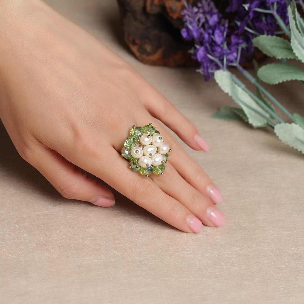 เครื่องประดับสตรีแหวนมุกและคริสตัลแหวนผู้หญิง Handmade ของขวัญเครื่องประดับ