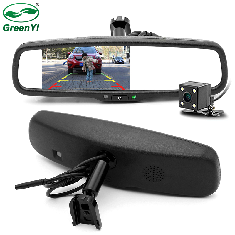 GreenYi Special 4 3 Inch Car Windscreen Rearview Mirror Monitor With Original Bracket Connect To CCD