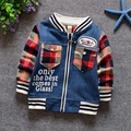 Del otoño del resorte roupas de bebe bebé de manga larga Patchwork Denim Jeans chaquetas de punto para niños chicos chaqueta abrigo Outwear