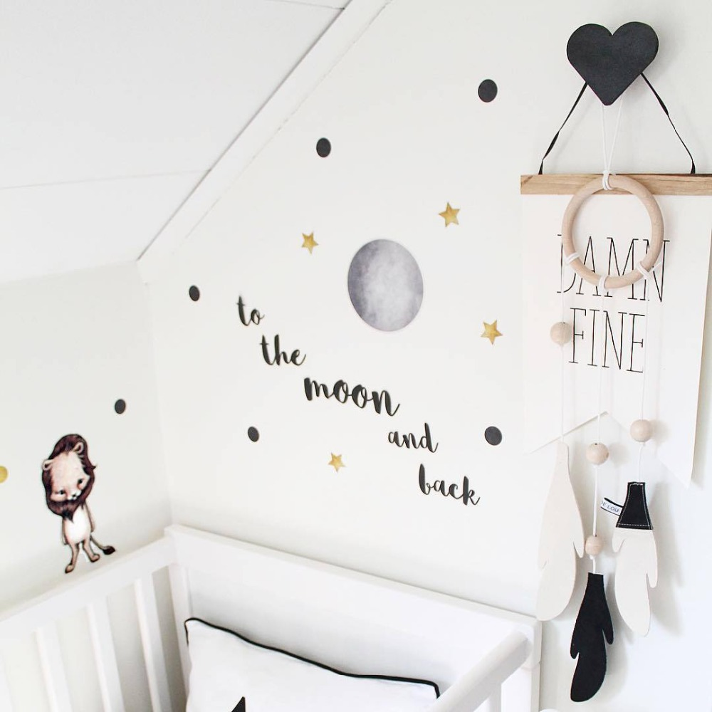 Scandinavian Style Nursery Kids Room Decoration Wall Hook Wooden Star Clothes Rack Black White Pink Blue Clothing Hanger Art INS in Hooks Rails from Home Garden