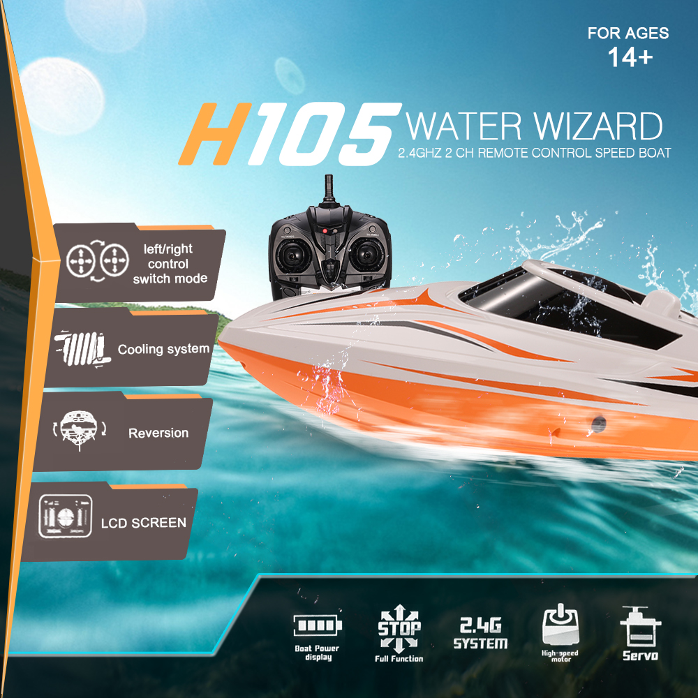 TKKJ H105 H103 2 4G 2CH High Speed RC Racing Boat with Mode Switch Self Righting