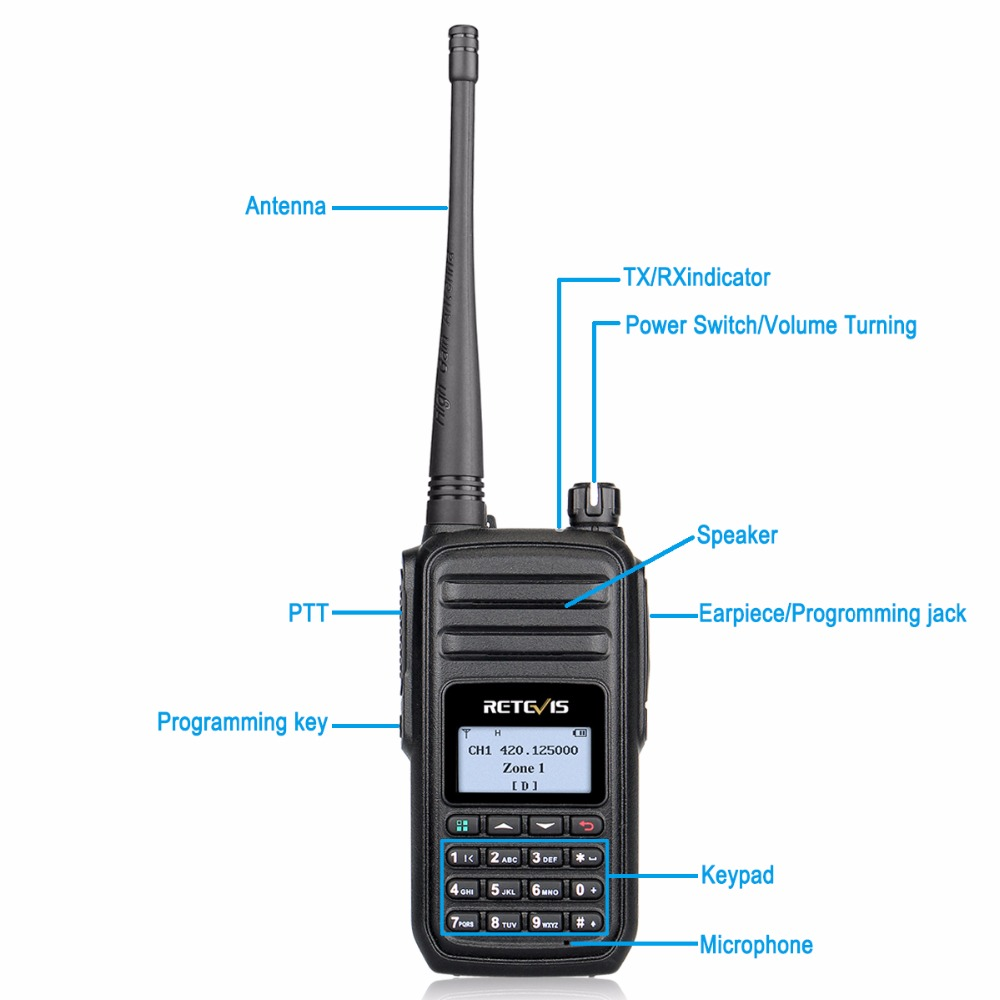 Image 3 - RETEVIS RT80 Ham Radio DMR Digital Walkie Talkie 5W UHF VOX FM Radio Portable Two Way Radio Amador Analog/Digital Transceiver-in Walkie Talkie from Cellphones & Telecommunications