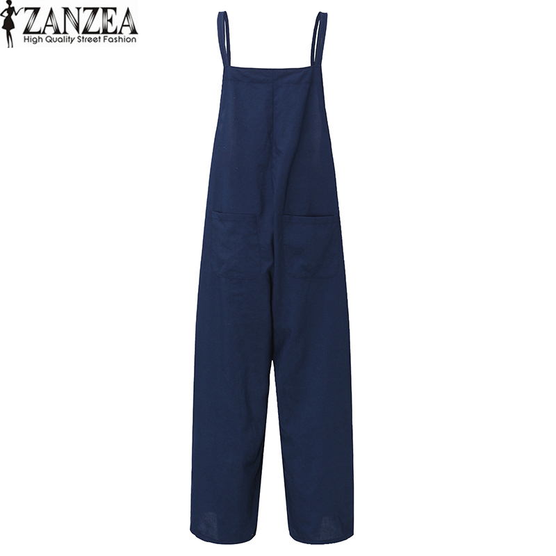ZANZEA Fashion Women Summer Sleeveless Strappy Wide Leg Long Casual Loose Pockets Playsuits Rompers Jumpsuit Harem
