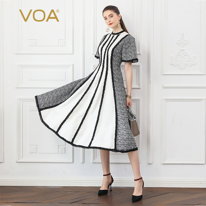 VOA Silk Long Dresses Women Party Dress Slim Tunic High Waist White Houndstooth Striped Fall Flare Sleeve vestidos Jurken A10023