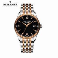 Best Selling Reef Tijger/RT Klassieke Zakelijke Horloges voor Mannen Rose Goud Staal Automatische Horloge met Datum RGA823