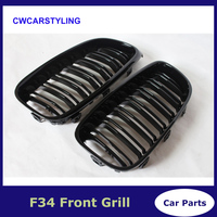 Dual Pair Racing Grills For BMW F34 Gran Turismo 320i 328i 330i 335i 340i 325d Glossy Black Front Bumper Grille Car Stying Grill