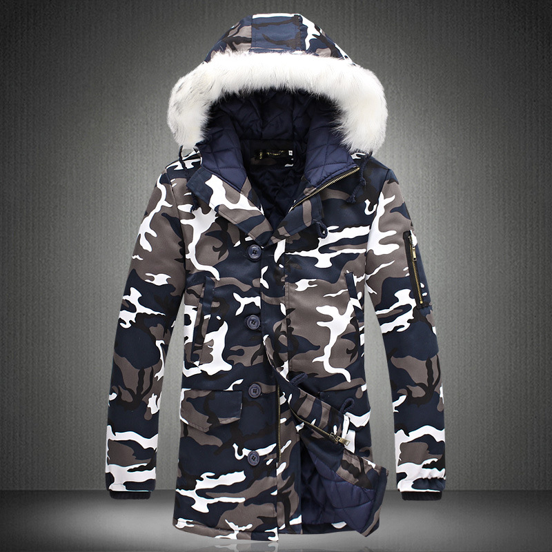 efe6aea623ab9 Mens Long Winter Camouflage Jacket Fur Hooded Down 2019 Outwear Thick  Military Style Parkas Male Big Coats Army Green Camo 3XL-in Parkas from  Men's Clothing ...