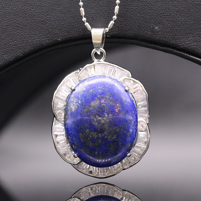 Fashion P White Gold Plated Real Natural Lapis lazuli Pendant Necklace Jewelry For Women Girls Wedding Accessories